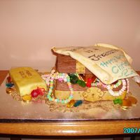 My Treasure My daughter's 13th b-day. Chest and gold bar are cake, lid is rice krispies treats w/ choc melts on underside. Homemade marshmallow...