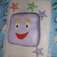 Backpack From Dora My niece's 2nd birthday cake is backpack from Dora. Chocolate fudge cake filled with BC and covered in MMF. Surrounding star cookies...