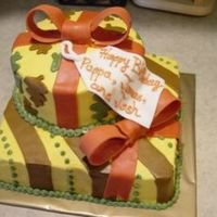 "Fall Birthday This cake was for a customer who wanted to celebrate a few family birthdays on Thanksgiving. 8"" square and 6"" round iced in..."
