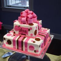 "Baby Girl Shower   10"" and 6"" square tiered cake with pink and brown mmf accents and bow"