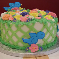 Garden Cake With Birds chocolate cake with cookies & cream filling, buttercream frosting. Flowers are royal icing and also chocolate-kiss roses. Birds are...