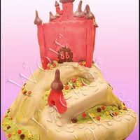 Princess Castle Cake Based on Debbie Brown's cake. Hill made from the wonder mold pan. Castle on top is rice krispy treats. All covered in fondant and...