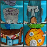 Bikini Bottom Some up close details of the bottom tier of my spongebob cake. all hand painted with food coloring on fondant.