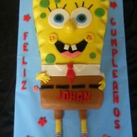 "Johan's Spongebob  9"" square for body, large loaf pan for shorts. Fondant covered. Had a lot of help from all the wonderful pics here of spongebob's..."