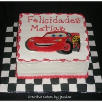 Matias Mcqueen 9x9 vanilla cake with vanilla cream and strawberries FBCT and fondant squares