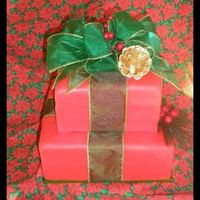 Casa Del Mar's Christmas Gifts 10x10 and 7x7 square carrot cake wrapped in fondant with real ribbon