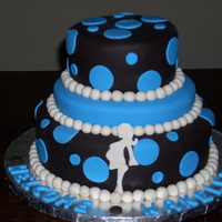 Blue And Brown CAKE MADE TO MATCH THE BABY SHOWER INVITATIONS.