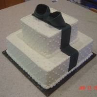 Square Wedding Cake Black Fondant Ribbon red velvet cake w. buttercreamblack bow and ribbon fondant