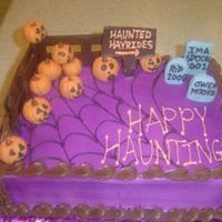 Halloween Cake Airbrushed purple.... fondant accentsvery fun to dored velvet cake w. cream cheese icing