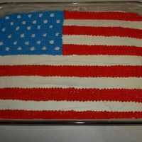 A Flag!  I made this for a party my husband and I are invited to tomarrow. It's 11''x 15'' yellow cake with plain...
