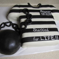 Jail Shirt With Ball And Chain   Jail house shirt with ball and chain. White cake with oreo filling. ball is a rkt covered in mmf. All decorations are mmf