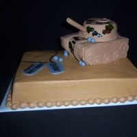 "Tank 9 X 13 sheet with 6"" square and 4"" round for the tank. Bottom cake covered in CBC. Tank covered in fondant with camo detail..."