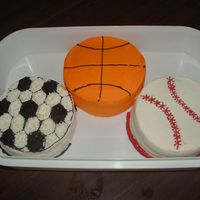 Sports Balls I made these six inch cakes for a friends son. I finally got to try the white almond sour cream cake and cookies and cream filling. Both...