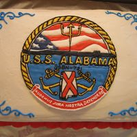 U.s.s. Alabama Emblem Cake The emblem is in color flow ontop of a buttercream iced cake.