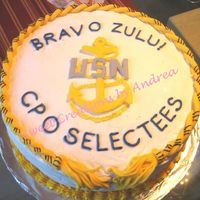 Navy Cpo Cake For Selectees I made this cake for my husbands chief petty officer select bbq. Cake is chocolate with chocolate raspberry b/c. Covered in b/c with color...