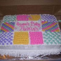 "Baby Shower Quilt Cake This is a white cake w/all BC. This cake was inspired by ""JW"""