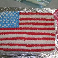 My First Flag Cake This is my first flag cake..I had 1 to many stripes but well..i learned..lol..took it to work and everybody loved it..it went very quickly...