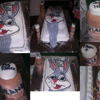 Ole Fart Bugs Bunny This is a carrot cake w/BC icing..there is a sheet cake for the bottom layer and then the character pan of bugs bunny for the top layer......