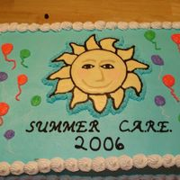 Summer C.a.r.e. This cake was made for a special education summer program. It is a two layer half sheet cake, half chocolate, half yellow, with chocolate...