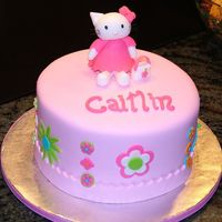 "Hello Kitty In Pink I had trouble with the fondant as it developed ""elephant skin"" when I covered the cake. Therefore, the design of the cake was..."