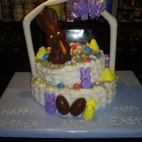 Easter Basket I had some trouble with this one. I stuck the chocolate bunny on and the border slid down the cake, but they still liked it.