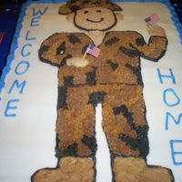 Welcome Back Home Military Cake This was for my co-worker's son in law who just got home from Iraq. They threw a party for him and one for his daughter, who turned 1...
