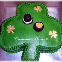 Lucky Shamrock yellow cake with BC icing and fondant decorations