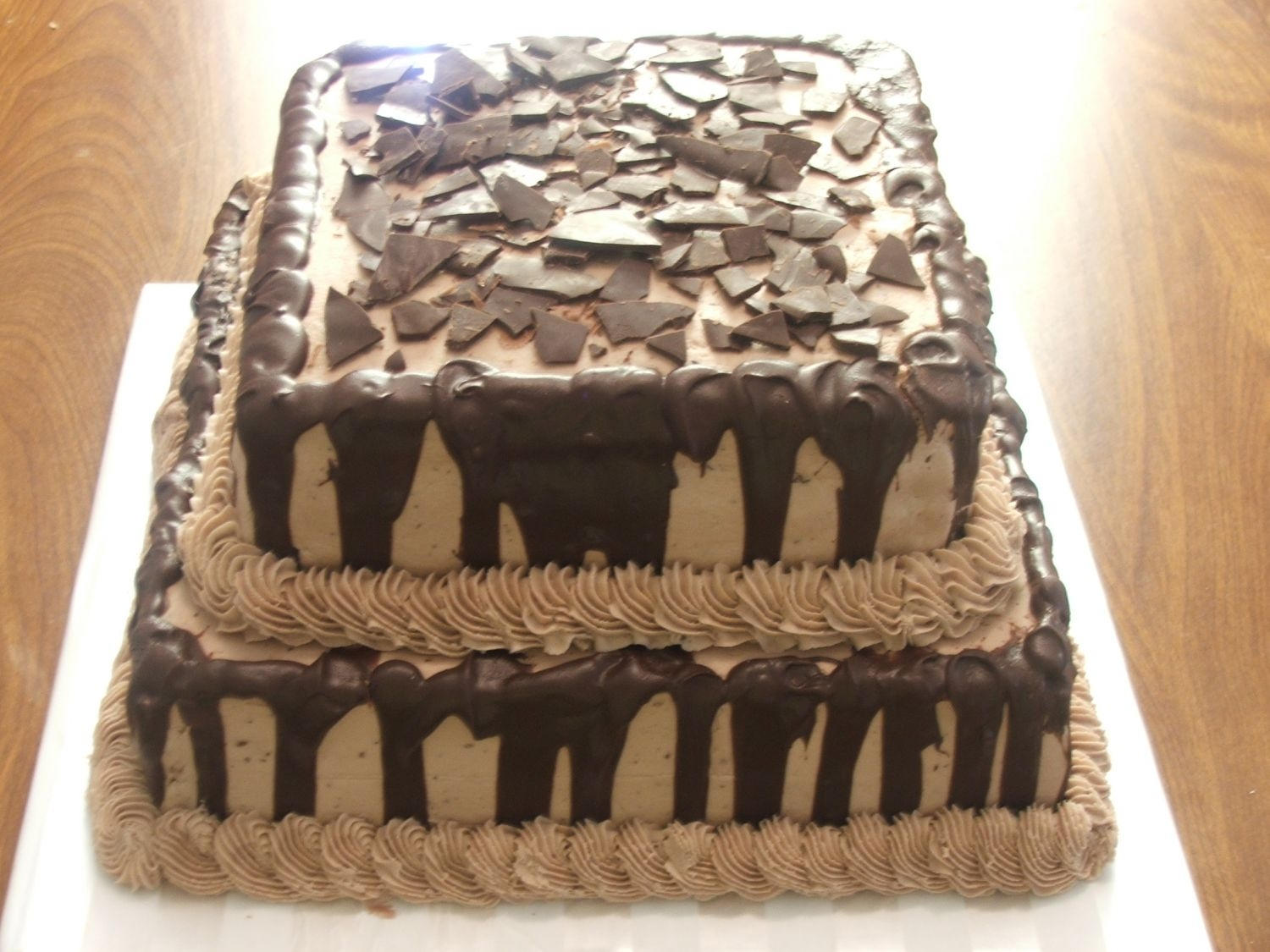 Choc. Grooms Cake This is a choc. choc. chip grooms cake with carmel filling and choc. buttercream