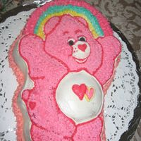 Victoria's 1St Birthday This cake was made for my daughter's 1st birthday. The theme was carebears (love-alot carebear). It is a white chocolate pound cake...