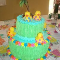 "Baby Luau Cake Double layer 10"" and 6"" on top for a Luau Baby Shower Cake. Many thanks to kelleym for her idea!"