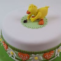 Easter Spring Duck Orange creamsicle cake with lemon curd/ buttercream filling. Fondant covered. Fondant ribbon with gold striped edges, gumpaste daisies,...