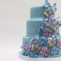Blue Butterflies Dummy cake (not happy with the way the fondant dried), wafer paper butterflies (thanks Jen Dontz) with big fat RI bodies (too big, but it&#...