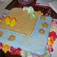Happy Beach Birthday This was my first customer cake. All she said was that her daughter wanted a beach cake. It is also my first time covering a cake with...