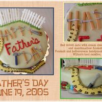 Handydad! 2005 Father's Day cake. Fondant wood planks and nails for lettering, fondant picket fence and tape measure. Wilton's tool candle...