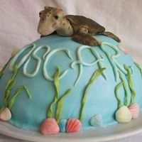 "Christening Cake With The Turtle From ""finding Nemo"""