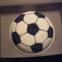 Soccer Ball a simple cake for a friends grandson. I rounded the top to make it standout a little more and make it look more round.