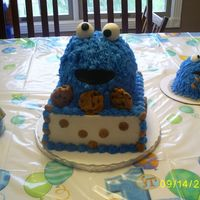 "Cookie Monster This is 2 8"" square, 2 6"" round, and 1/2 ball pan. WVSC covered in BCD with Fondant accents. Chips ahoy and cookie crisp cookies..."