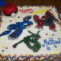 Pokemon Cake  This cake was for my oldest son's 11th birthday. Buttecream frosting, the pokemon are FBCT and the pokeball is covered in rolled...