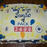 Cub Scout End Of The Year Cake  Last Friday the boys moved on to their next ranks. I made this cake to honor that and to show some of the things we did throught the year....