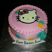 "Aliyah's 6Th Bday 8"" round iced in buttercream Choc flow ""hello kitty"". fondant cirlces, banner and number 6 for the bday girls age. TFL!"