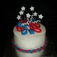 "4Th Of July 2008 8"" cake, Iced in B/C, fonant bow, stars and accents. TFL!"