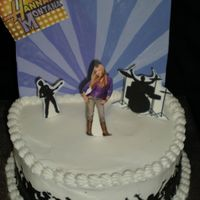 "Hannah Montana 8"" iced in B/C. Backdrop is made of chocolate. Hannah, band mates and crowd are an edible image backed with chocolate. TFL!"
