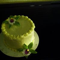 Lizzie_031.jpg   6 inch chocolate cake, vanilla bean buttercrean dream frosting, pale yellow with pink and green phalaenopsis orchids