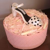 Mud Cake With Pink Chocolate Wrap Okay okay I know a tad over the top! But Id originally made this shoe for this polka dot mad friend so had to use it somewhere!!! I hope...