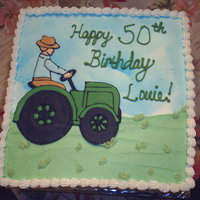 Farmer's Birthday Color Flow decorations with air brushed clouds