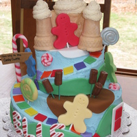 Candyland Cake   buttercream with all edible fondant decorations-- thanks to all the cc inspiration-- you ladies are full of talent!