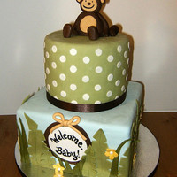 Jungle Themed Baby Shower Cake monkey is made of fondant