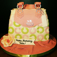 Pink And Green Coach Purse Cake