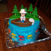 Granddads Fishing Brithday Cake My granddad loves to fish so i thought this was a good cake for him!