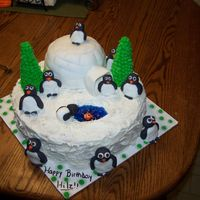 Penguin Cake I actually used someones idea from cake central.com for this one so thanks to whoever it was! The pegunins are fondant and the trees are...